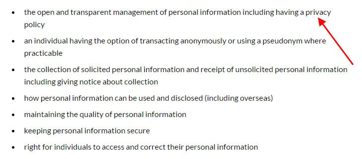 Summary of Australia Privacy Principles from OAIC website