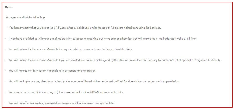 Pixel Fondue, A Squarespace Website Terms Of Service: The Rules Section  Coupon Disclaimer Examples