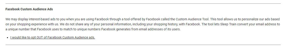 Sleep Train Privacy Policy: Section on Facebook Custom Ads retargeting