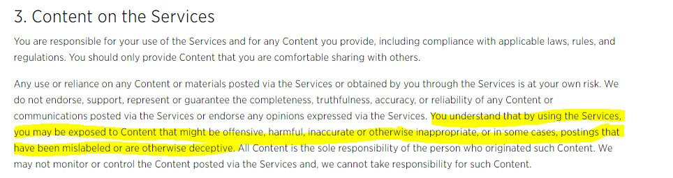 Twitter Terms of Service: Content on the Services