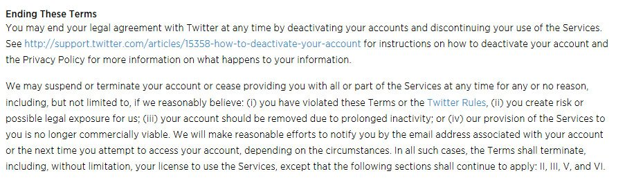 Twitter Terms of Service: Termination clause on Objectionable Content