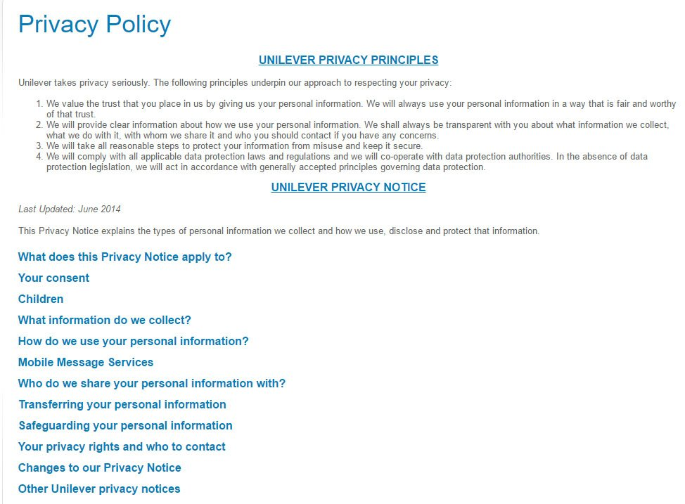Unilever Privacy Center: Privacy Policy Page with Headings and Links