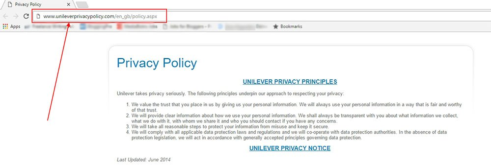Unilever Privacy Center: the Privacy Policy URL