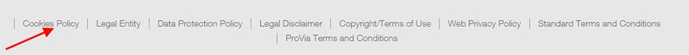 Wabco footer: Highlight Cookies Policy link