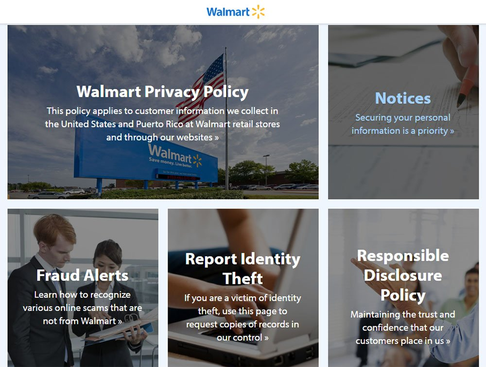 Screenshot of Walmart Privacy & Security Center