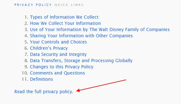 Walt Disney Privacy Center: The Read the full Privacy Policy link