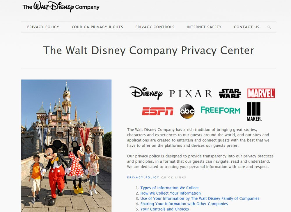 Screenshot of Walt Disney Privacy Center