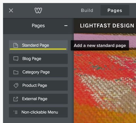 Weebly Pages section: Add a new standard page