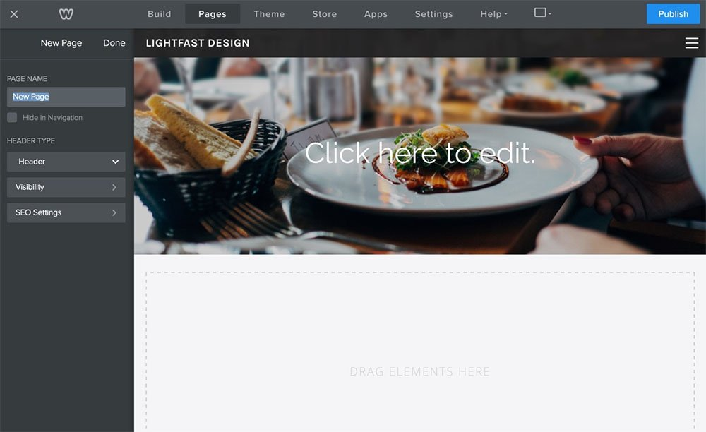 Weebly Pages section: Edit content