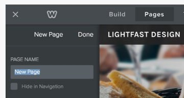 Weebly Pages section: Edit the Page name