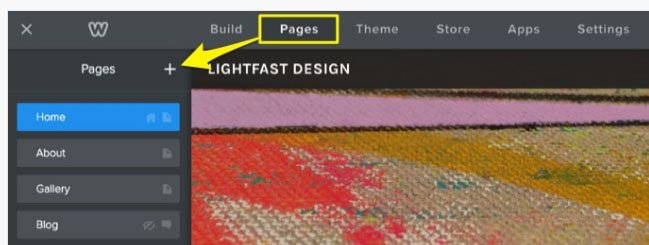Weebly Pages section: Plus icon