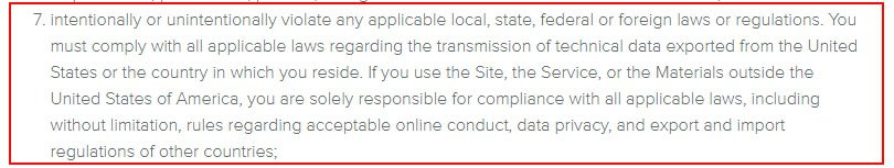 Weebly Terms of Service: Solely responsible for compliance screenshot
