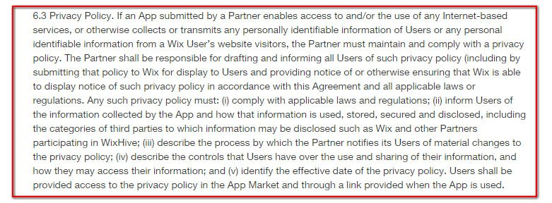 Wix Developers Partners Agreement, Section 6.3: Privacy Policy