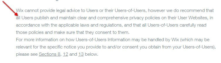 Wix Privacy Policy Recommendation