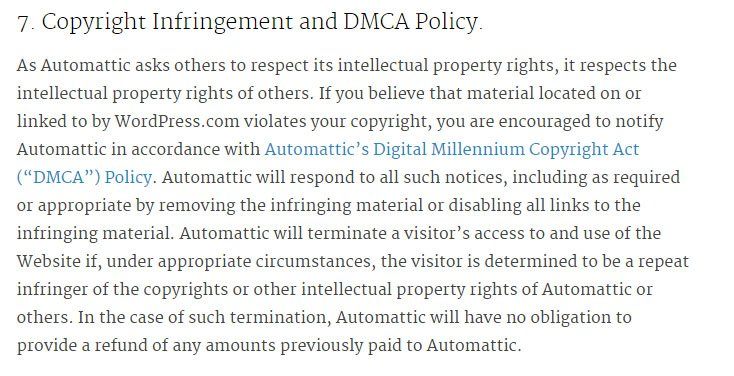 WordPress Terms of Service: Copyright Infringement and DMCA Policy