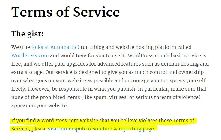 WordPress Terms of Service: Report link