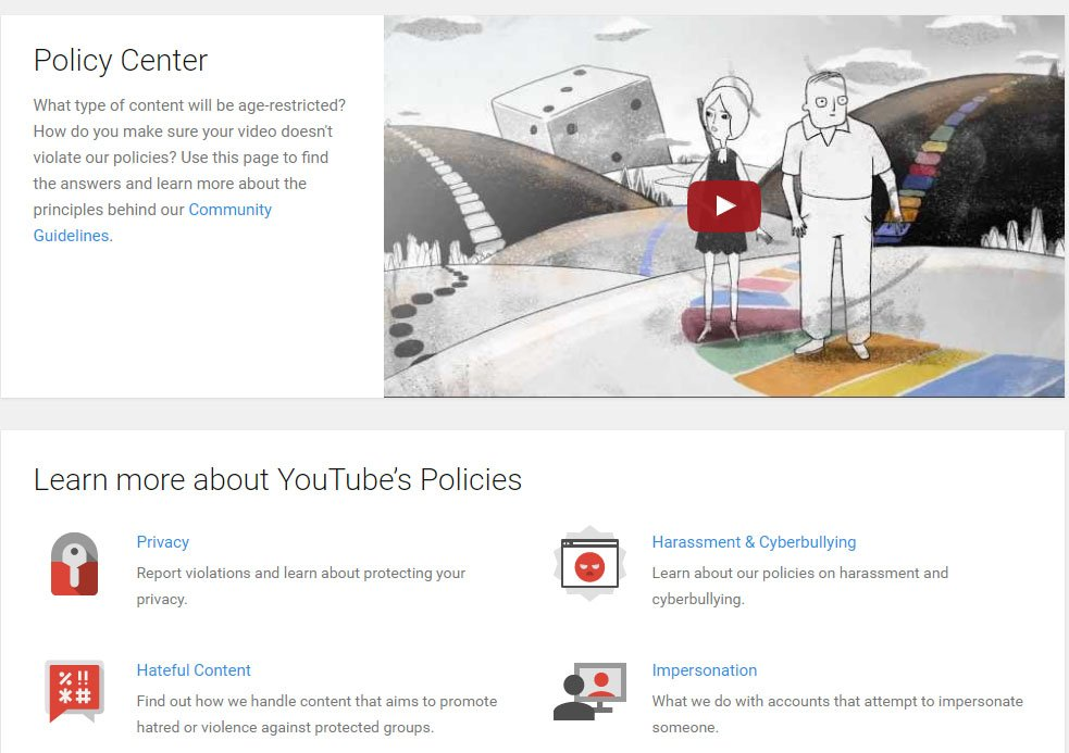Screenshot of YouTube Policy Center