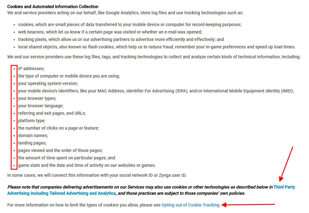 Zynga Privacy Policy: Facebook Pixel