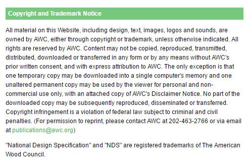 Example of Copyright and Trademark Disclaimer Notice from American Wood Council