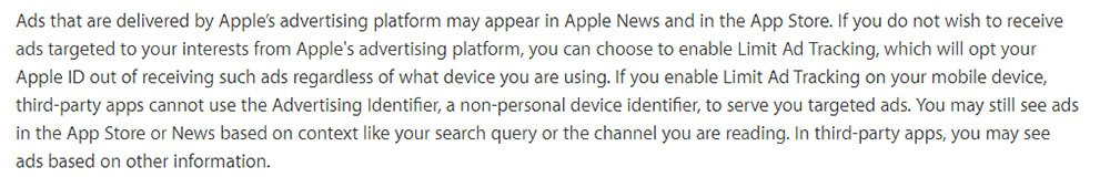 Apple Privacy Policy: Cookies and Ad Tracking process to turn off