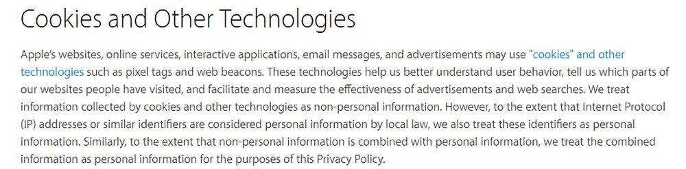 Apple Privacy Policy: Cookies and Other Technologies clause