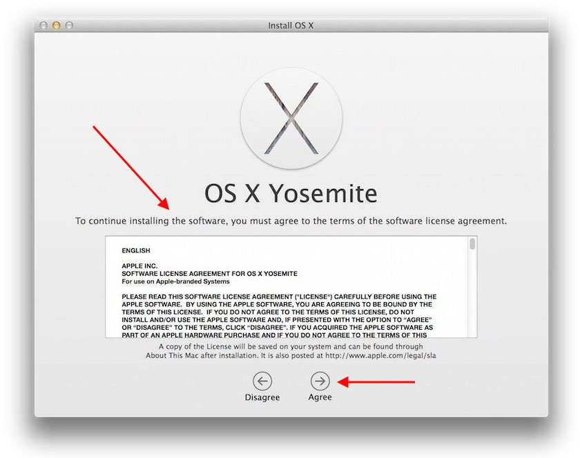 Example of Apple EULA when installing Yosemite - 3