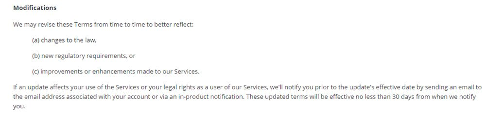 Dropbox Terms of Service: Modifications clause