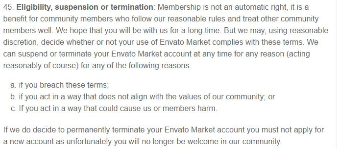 Envato Market Terms: Eligibility, Suspension and Termination clause