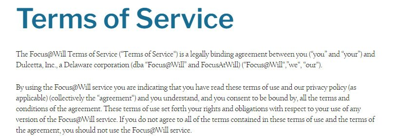Focus@Will Terms of Service: Introduction and acceptance clause