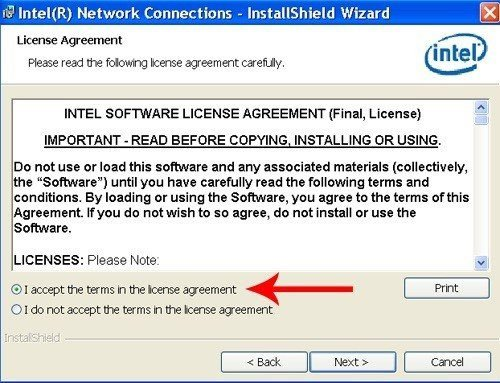 Intel InstallShield Wizard: Accept License Agreement