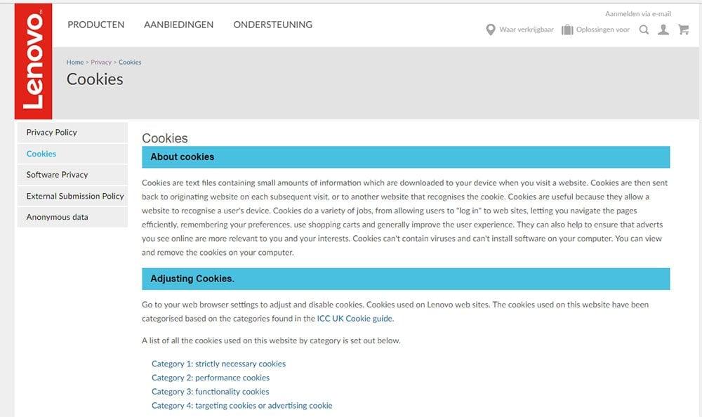Lenovo Netherlands: Cookies page screenshot