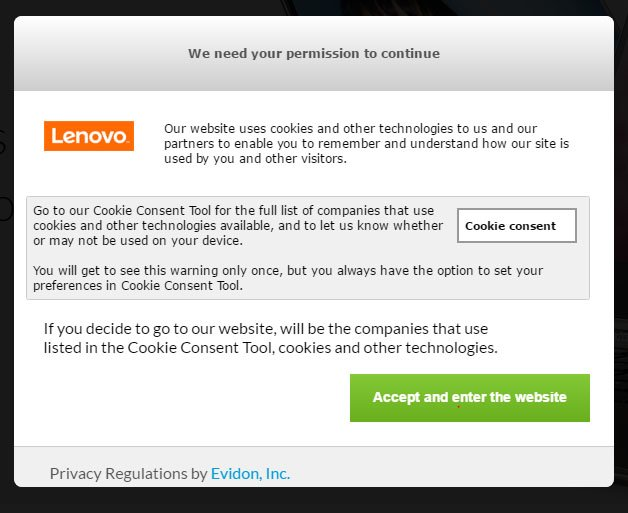 Lenovo Netherlands website: Cookies Permission Dialog