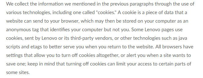 Lenovo US Privacy Policy: Cookies with Additional Information