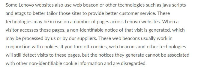 Lenovo US Privacy Policy: Cookies and Web Beacons Information
