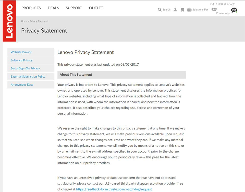 Screenshot of Lenovo US Privacy Policy
