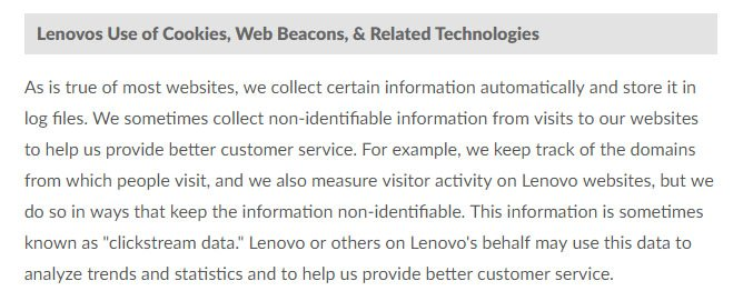 Lenovo US Privacy Policy: Use of Cookies, Web Beacons and Related Technologies clause