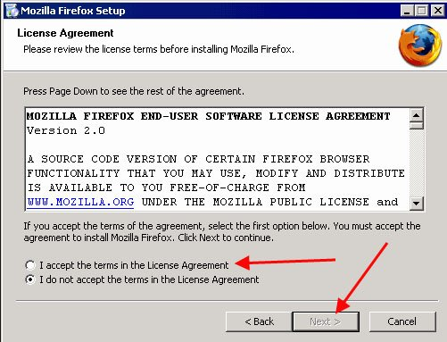 Mozilla Firefox Setup: Accept EULA