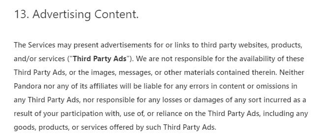 Pandora Terms of Use: Advertising Content clause
