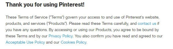 Pinterest Terms of Service: Acceptance clause