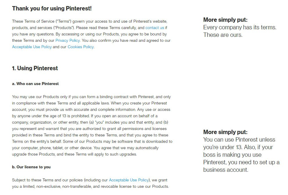 Pinterest Terms of Service: Plain language example