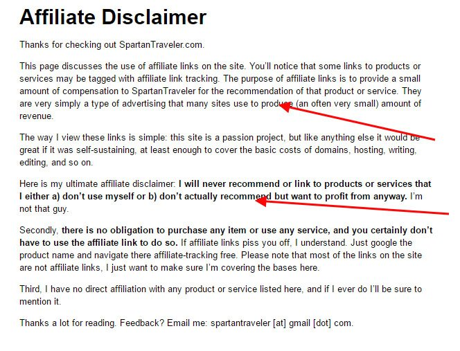 Example of Affiliate Disclaimer from Spartan Traveler