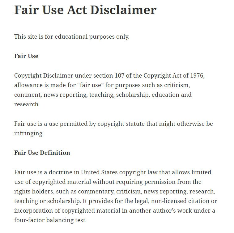 Example of Fair Use Act Disclaimer from Syracuse Journal of Science Technology Law