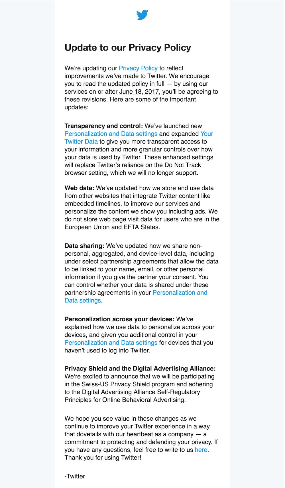 Twitter updated Privacy Policy in June 2017: Email notification to users