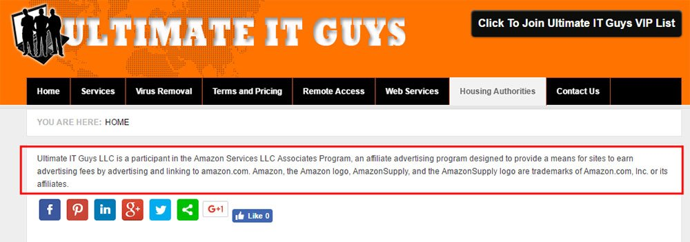 Disclosure on Amazon Associates links from Ultimate IT Guys