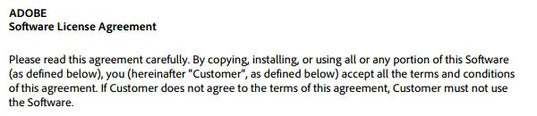 Adobe Flash Software License Agreement showing acceptance by copying, installing or using software