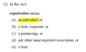 "Definition of ""organisation"" from the Australian Privacy Act 1988"