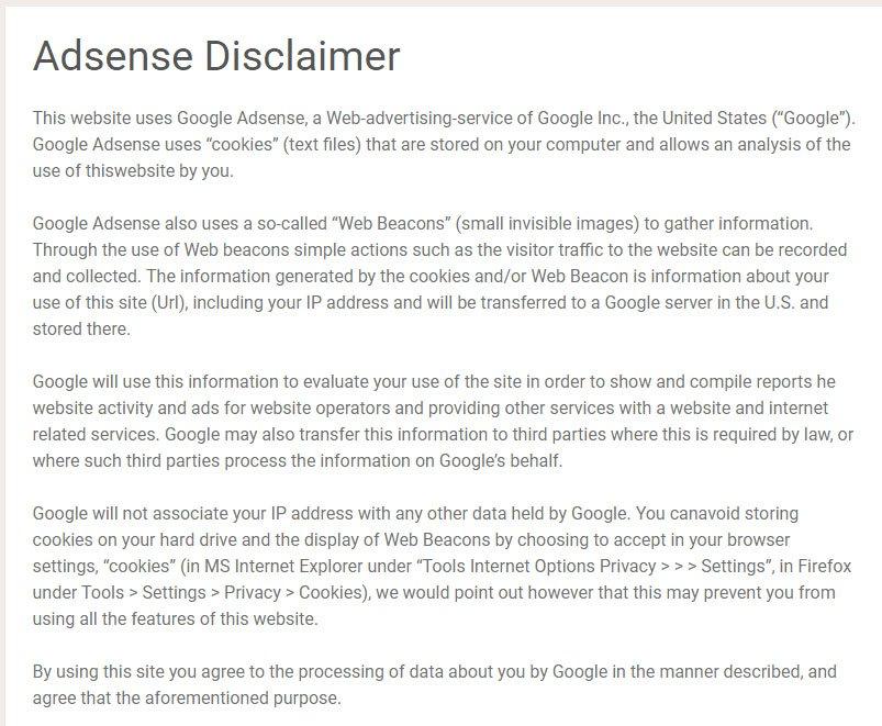 Faith Area's AdSense Disclaimer