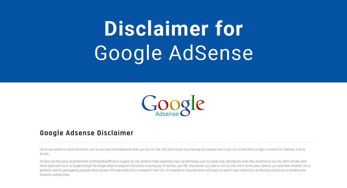 Disclaimer for Google AdSense