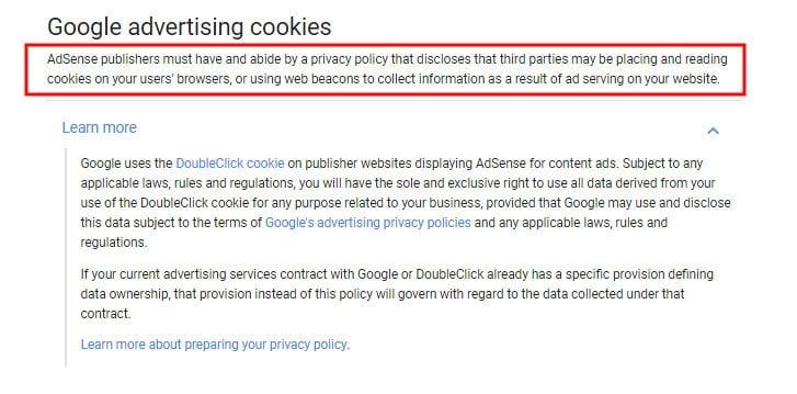 Google AdSense Program Policies: Google Advertising Cookies