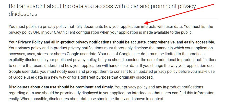 Google User Data Policy on the Requirement of a Privacy Notice
